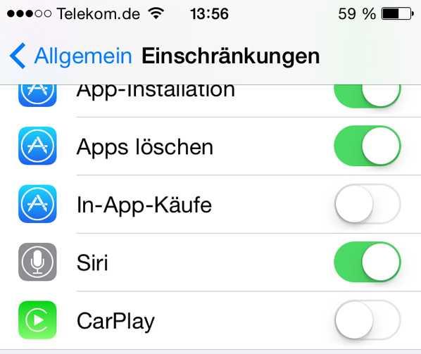 Unter iOS beispielsweise lassen sich In-App-Käufe unterbinden
