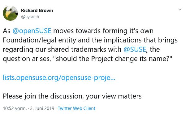 Für einen Namenswechsel spricht sich unter anderem auch Richard Brown, Suse-Mitarbeiter und Chairman des openSUSE-Boards, aus.