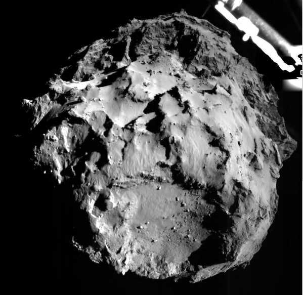Diese Aufnahme ist Philae mit der ROLIS-Kamer beim Landeanflug gelungen.