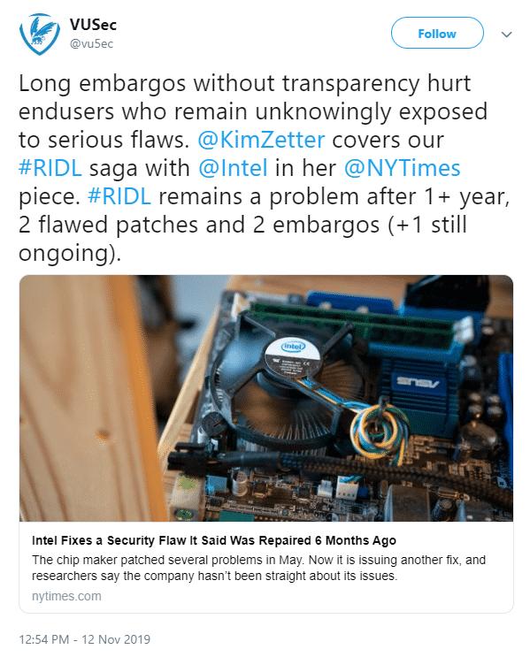 Tweet von VUSec mit Kritik an Intel