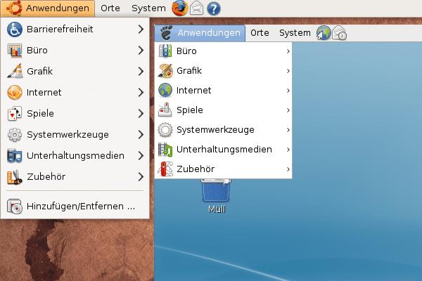 Der Gnome-Desktop von Debian Lenny (rechts) sieht dem von Ubuntu 8.10 (links) sehr ähnlich.