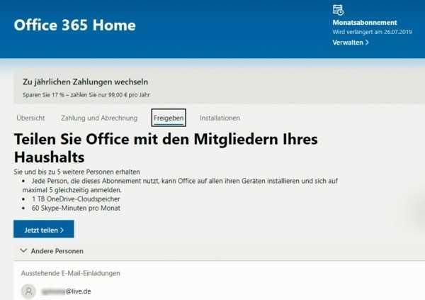 Um Familienmitglieder in den Genuss eigener Lizenzen für Word, Excel und PowerPoint kommen zu lassen, muss sie der Besitzer des Office-365-Abos über eine Webseite einladen.