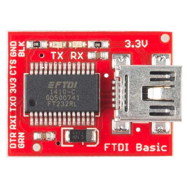 Exemplarisch ein FTDI-Board von SparkFun. Damit können Entwickler den ESP-01 mit einem PC verbinden