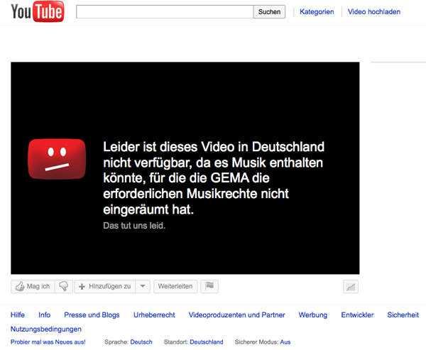 Gegen diesen Text hat sich die GEMA erfolgreich gewehrt, YouTube will die Mitteilung nun ändern.