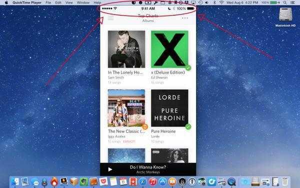 QuickTime-Screenrecording eines iOS-Geräts: Immer 9 Uhr 41, immer 100 Prozent geladen.