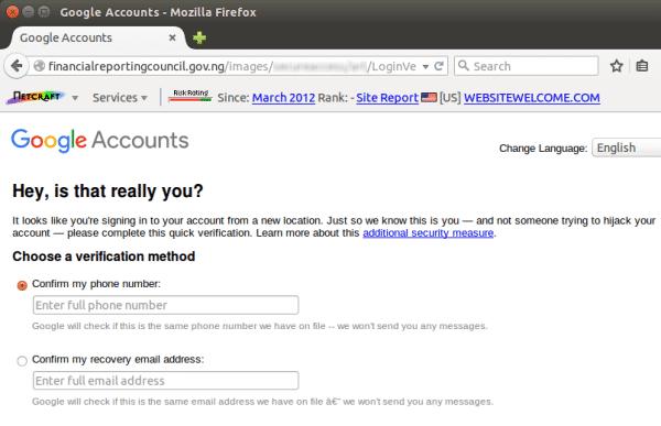 Phisher wollen über eine Webseite der Regierung aus Nigeria Nutzerdaten abgreifen.