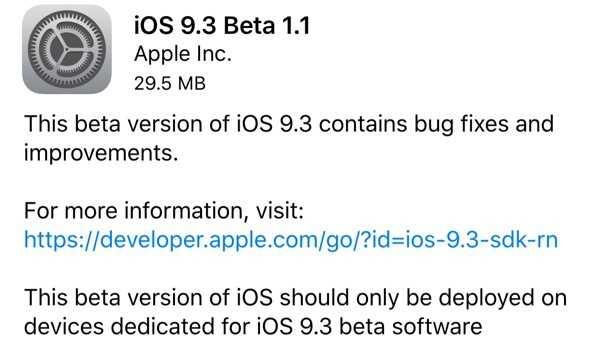iOS 9.3 Beta 1.1 behebt Installationsprobleme