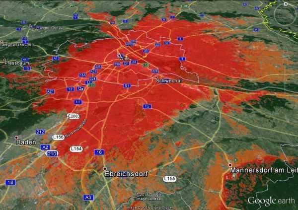 Satellitenbild Wiens, großteils rot eingefärbt
