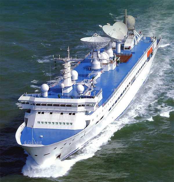 """Das Bahnverfolgungsschiff YW-5 aus der Yuanwang-Flotte kontrolliert auch den Flug der chinesischen Mondsonde """"Chang'e 1""""."""