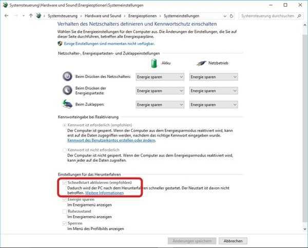 Eine von mehreren Methoden bei plötzlich aussetzender Netzwerk-Funktion: Schaltet man die Schnellstart-Option ab, beziehen Windows-10-Computer nach einem Neustart anstandslos wieder eine gültige IP-Adresse, sind wieder übers LAN erreichbar und kommen auch ins Internet.