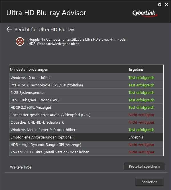 Cyberlinks UHD BD Advisor prüft die komplizierten Voraussetzungen für die Wiedergabe unter Windows 10.