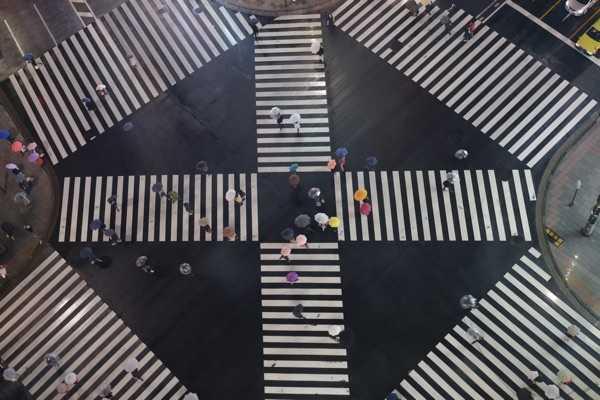 Große Kreuzung –hier in Japan.