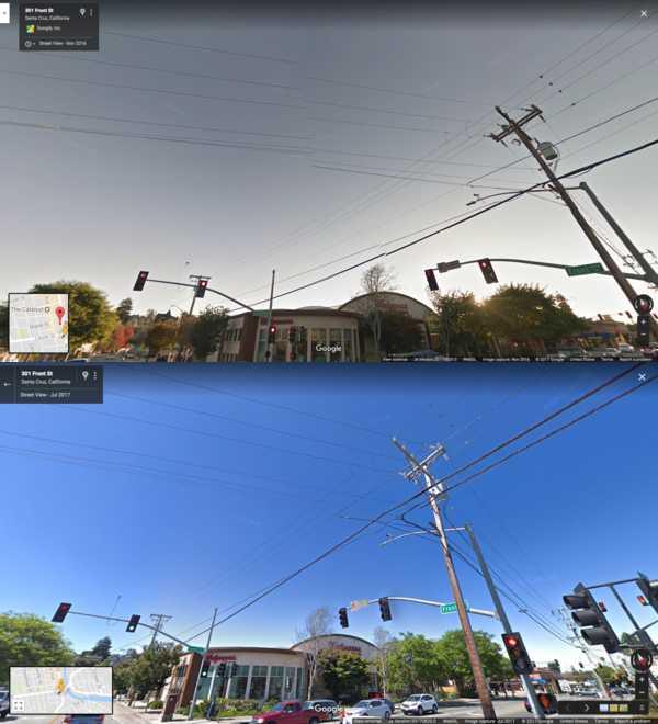 Neue Kameras auf den Street-View-Autos verbessern die Bildqualität deutlich. Die Farben sind lebendiger und es gibt mehr Details zu erkennen (unten).
