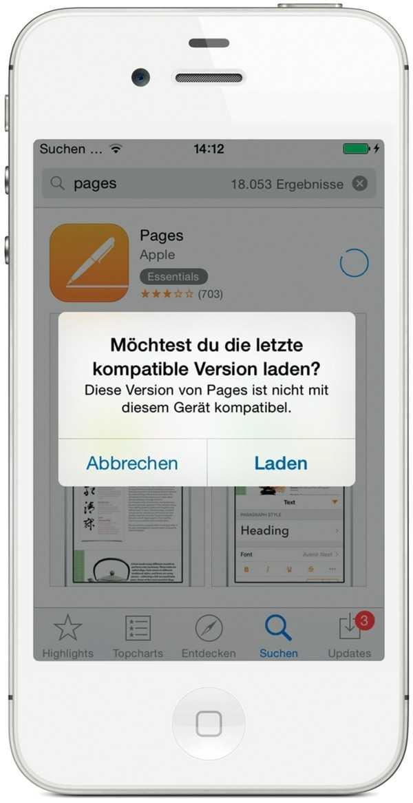 """Die Ansicht """"Käufe"""" im App Store erlaubt den Download auch älterer iOS-App-Versionen."""