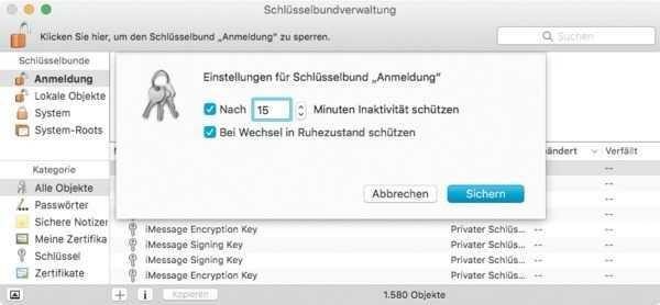 Mac-Schlüsselbundeinstellungen