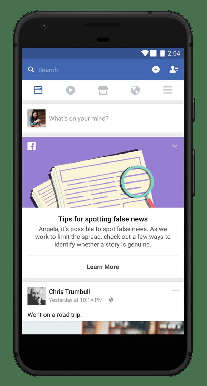 So sieht ein Tipp von Facebook auf dem Mobilgerät aus.