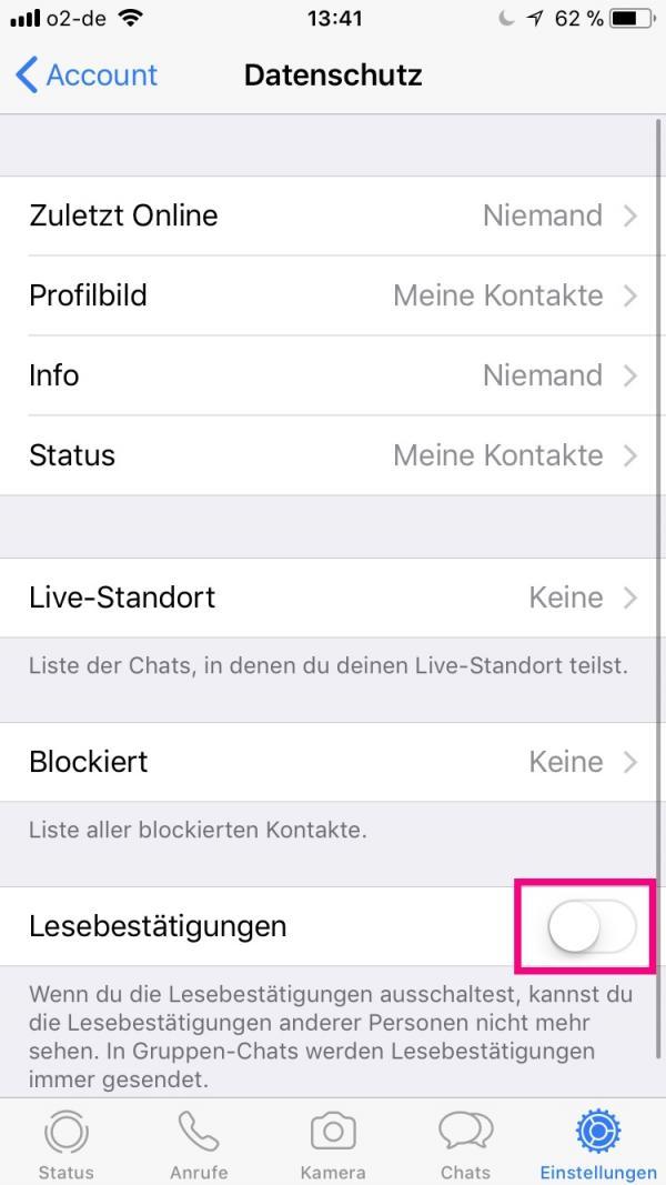 Lesebestätigung nachträglich deaktivieren whatsapp Whatsapp lesebestätigung