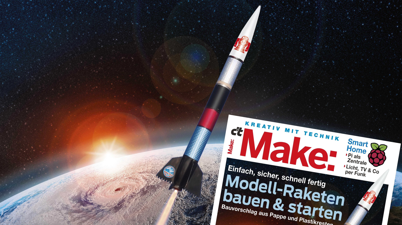 Eine Rakete fliegt über die Erde - daneben das Titelbild der Make 6-18