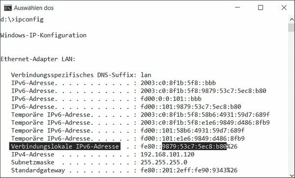 Die für Serverdienste nötige globale IPv6-Adresse mit konstantem Host-Part versteckt sich bei modernen Betriebssystemen zwischen den wechselnden temporären Adressen (Privacy Extensions) und den lokal gültigen.