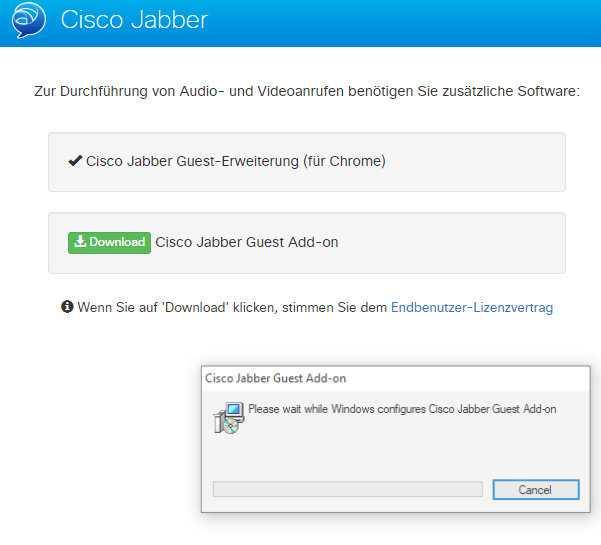 Vor Betreten der virtuellen Konferenzräume werden dem Nutzer die Downloads für die erforderliche Software angeboten.