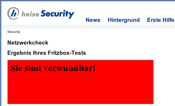 Alarmstufe rot: Der Netzwerkcheck von heise Security überführt angreifbare Fritzboxen.