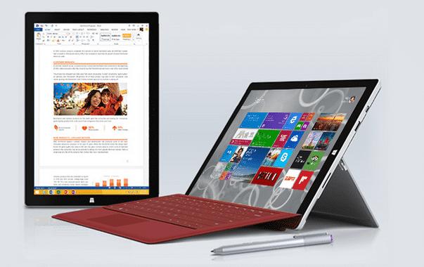 Das Surface Pro 3 hat einen eingebauten Ständer.