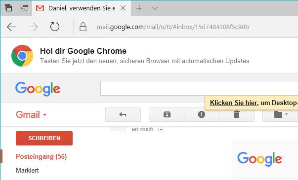 """Ruft ein Nutzer Gmail mit Edge auf, erscheint ein deutlicher Hinweis: """"Hol dir Chrome"""". Ein solch aggressives Marketing schadet alternativen Browsern wie Firefox."""