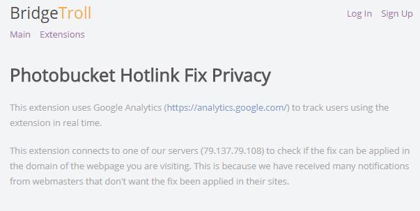 Eine knappe Datenschutzerklärung weist auf die Verbindung zu dem Server hin. Dass jede aufgerufene URL übertragen wird, verschweigt der Autor aber. Zudem fehlt im Firefox-Verzeichnis ein Link zur Erklärung.