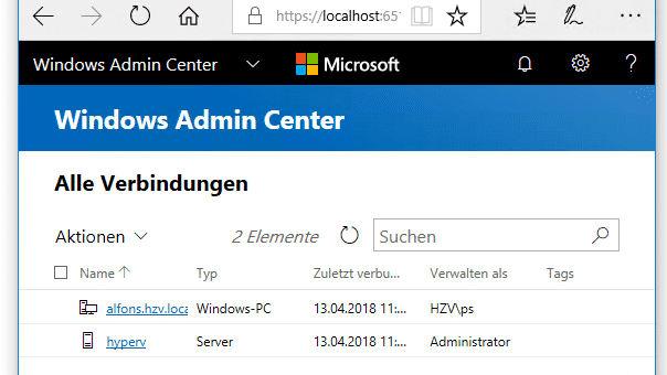 Aus Honolulu wird Windows Admin Center