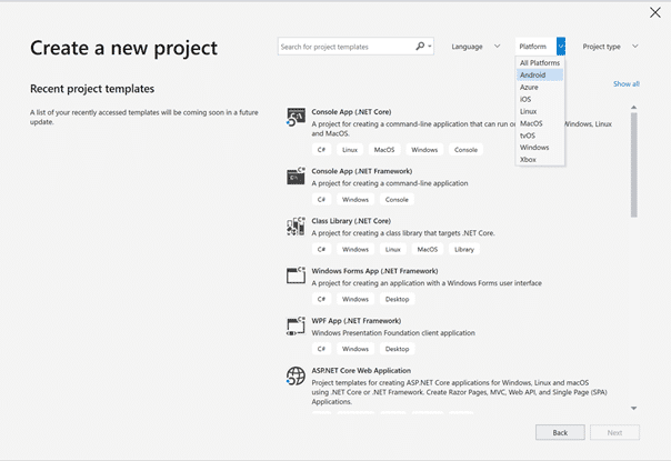 Der Dialog zum Anlegen neuer Projekte ist in Visual Studio 2019 nicht mehr wiederzuerkennen.