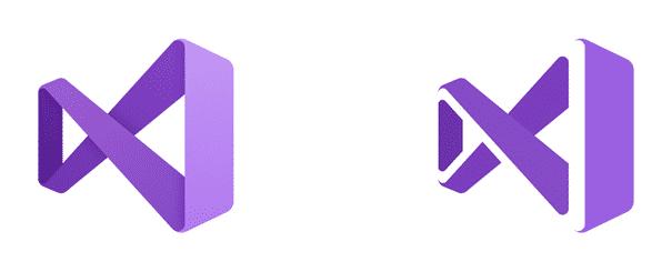 Die überarbeiteten Visual Studio-Logos für die Release-Version (links) und die Preview-Version (rechts)