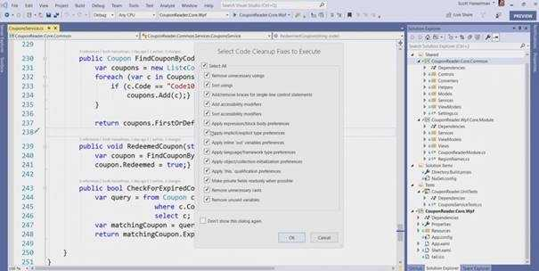 Run Code Clean-up in Visual Studio 2019
