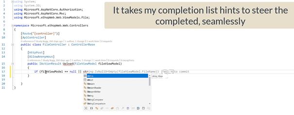 Befehlsvorschläge in Visual Studio 2022 (Quelle: Microsoft)