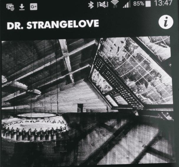 die Kubrick-App vom LACMA mit dem Screenshot aus Dr. Seltsam, diesem Kommandoraum