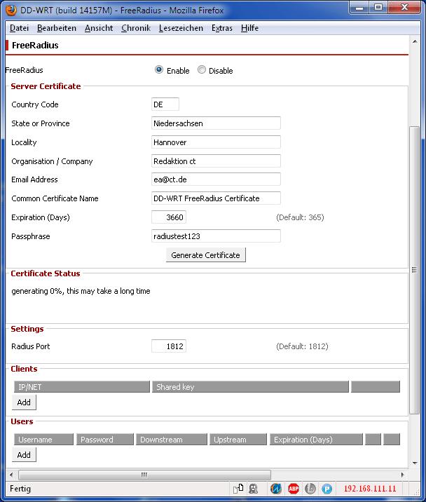 Freeradius steckt schon in der Alternativ-Firmware für manche preisgünstige WLAN-Router.