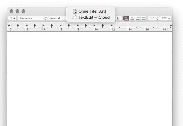 Apps wie TextEdit speichern neue, vom Nutzer noch ungesicherte Dokumente automatisch in iCloud