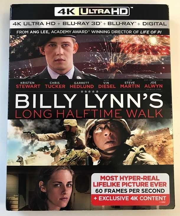 """Sony Pictures weist auf der Ultra HD Blu-ray von """"Billy Lynn's long Halftime Walk"""" auf das HFR-Format mit einem Aufkleber hin."""