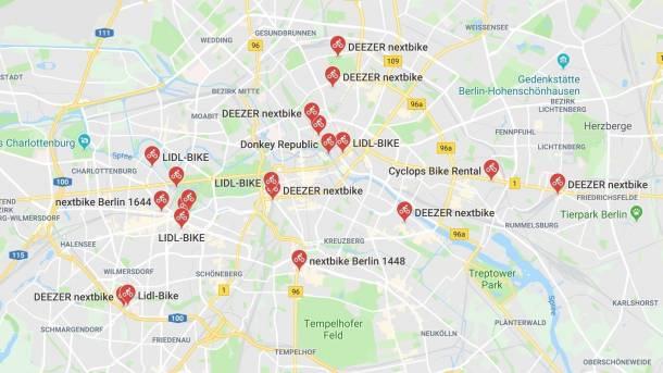 Bikesharing: Google Maps zeigt verfügbare Fahrräder in Berlin und on