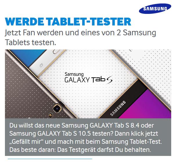 Samsungs Werbung für die Tab-Tester-Aktion.