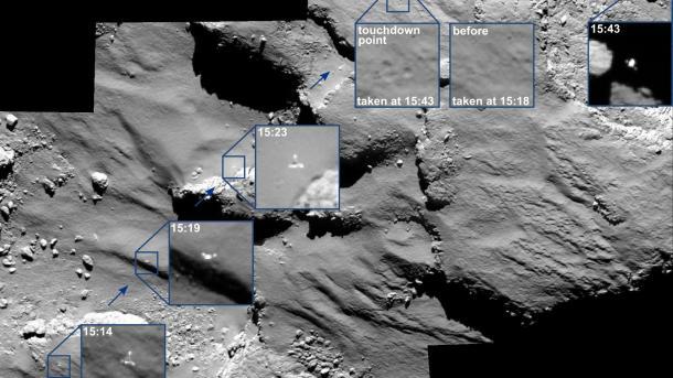 ESA-Kommetenmission Rosetta: Die Hopser von Philae bei der Landung