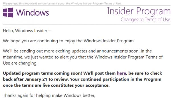 Windows Insider Program: Teilnahmebedingungen werden geändert