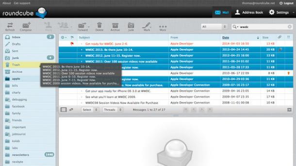 Aktuelle Major: Webmailer Roundcube mit neuen Funktionen