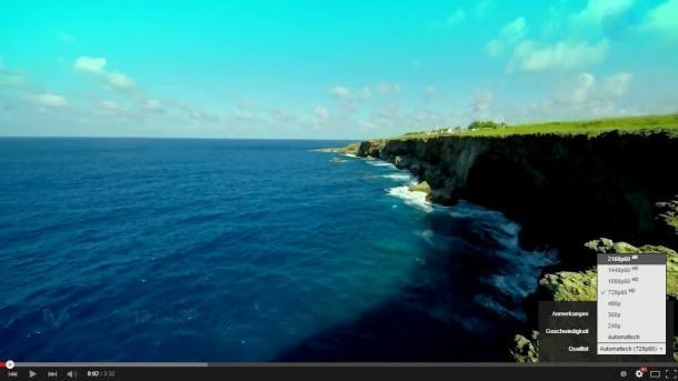 YouTube zeigt 4K-Videos mit 60 Hertz