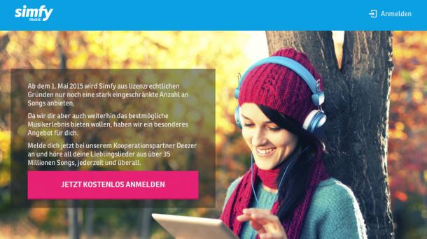 Simfy schränkt Angebot ein und verweist auf Deezer