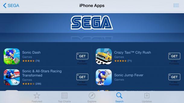 Sega entfernt Spiele aus dem App Store