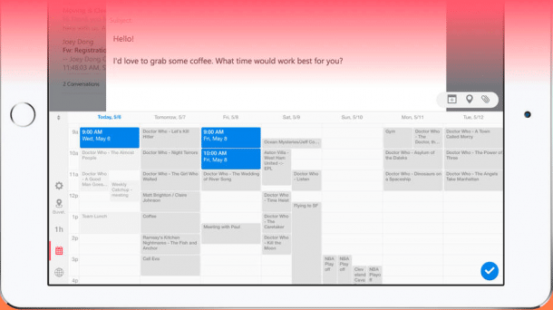 Microsofts Sunrise-App mit Terminplanungstastatur