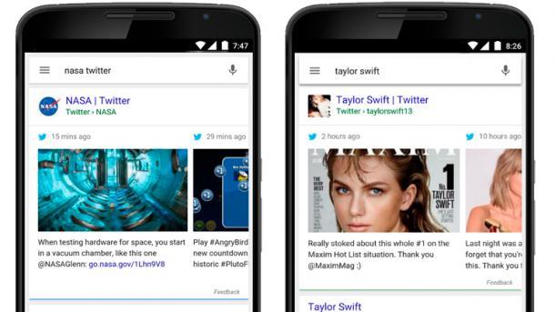 USA: Google-Suche auf Mobil-Geräten zeigt Tweets prominent an