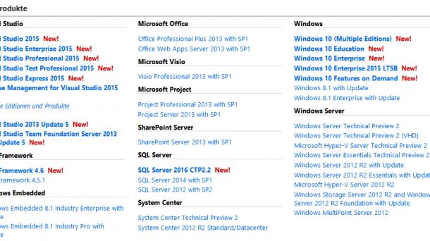 Windows 10 via MSDN und Media Creation Tool