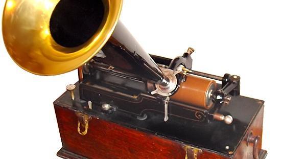 Edison-Phonograph mit Wachswalze