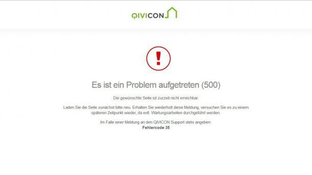 Qivicon-Fehlermeldung